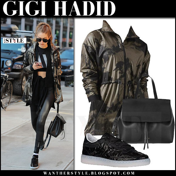 Gigi Hadid in metallic camo print jacket, black leggings and sneakers reebok club c 85 what she wore workout clothes