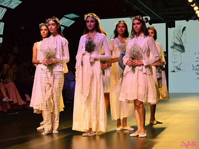 Designer wear brand Pero showcases their collection of lace and flower crowns on the runway at Lakme Fashion Week at St. Regis, Mumbai