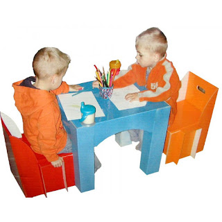 Image: Childrens Furniture: Children's Table and Chair Set | Made of extra strong coated cardboard
