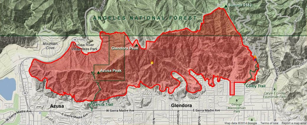 Azusa Canyon Fire Map.Dan S Hiking Blog Colby Fire January 16 2014
