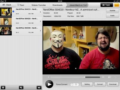 Imagem da tela do iPad, mostrando o aplicativo que faz os vídeos do netbook rodarem no iPad