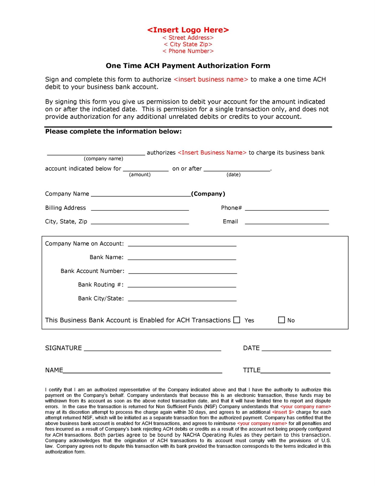 ach form template template ach form template