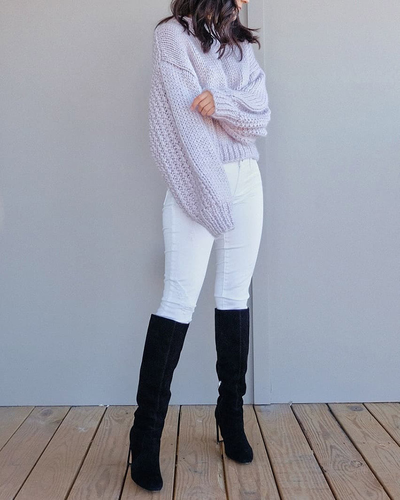 how to style white jeans winter, dolce vita coop knee high boots, lavender sweater outfit