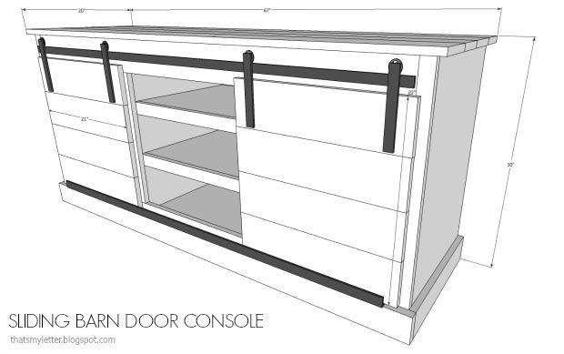 that 39 s my letter diy sliding barn door console free plans. Black Bedroom Furniture Sets. Home Design Ideas