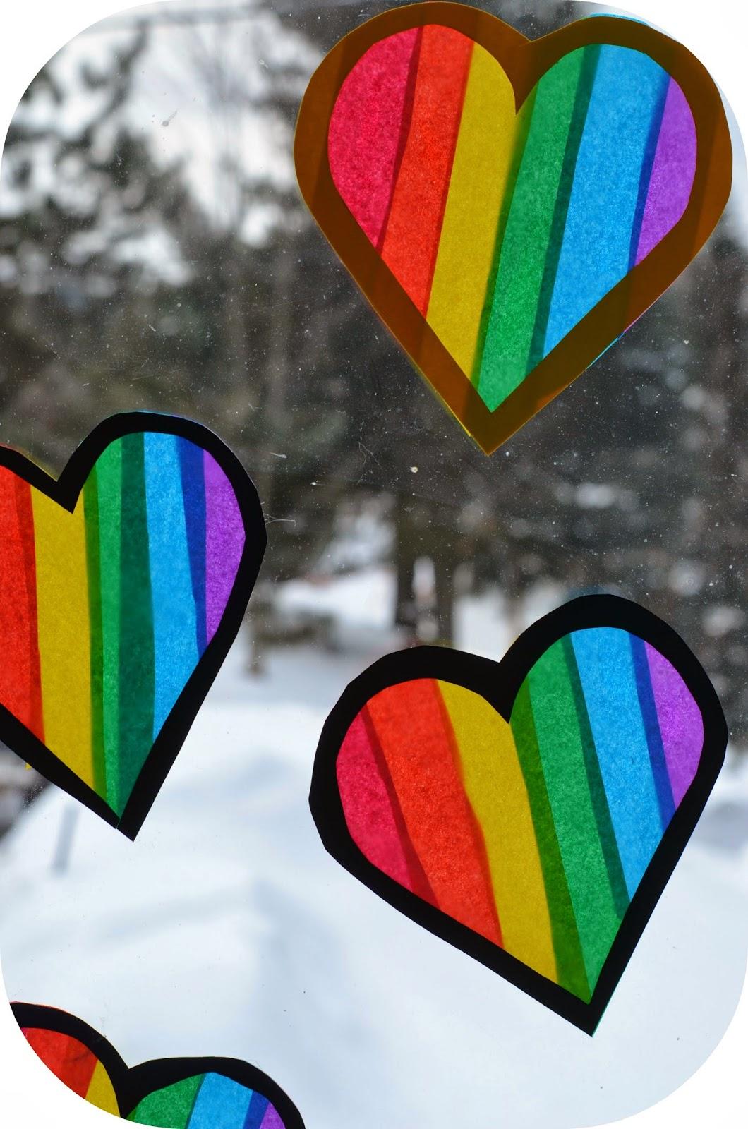Twig And Toadstool Rainbow Heart Transparencies
