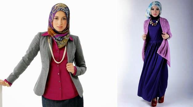 paduan warna jilbab kantor