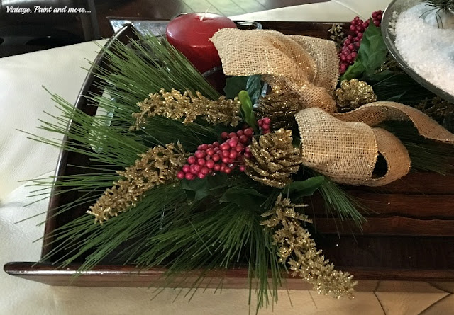"""faux"" Christmas swag with burlap ribbon"