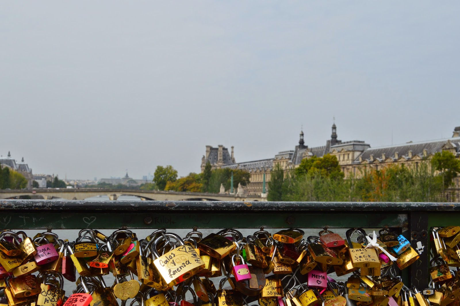 Love locks at Pont des Arts bridge in Paris