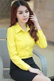 Model Baju Kemeja Wanita Warna Kuning Modern Terbaru