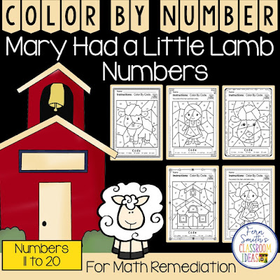 If you are looking for a resource for math remediation while still giving your students some confidence while reviewing important math skills, you will love this series. These five Color By Number worksheets focus on Numbers 11 to 20 with a cute Mary Had A Little Lamb theme. The five pages have only a few color selections and only a few numbers, to help your students focus on the repetitive pattern of numbers 11 to 20. All the while giving your students a fun and exciting review of important math skills at the same time! You will love the no prep, print and go ease of these printables. As always, answer keys are included.