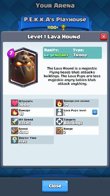 Cara Mudah Mendapatkan Kartu Legendary Card Lava Hound Gratis, Cara Mendapatkan Lava Hound Pada Arena 4, Cara Mendapatkan Lava Hound Dari Chest Clash Royale.