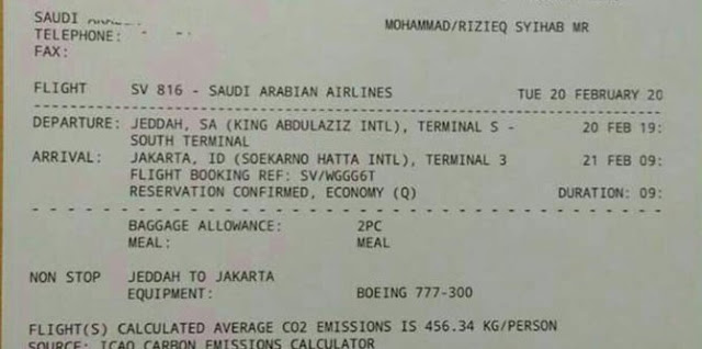 Tiket kepulangan Rizieq Shihab ke Indonesia dipastikan hoaks