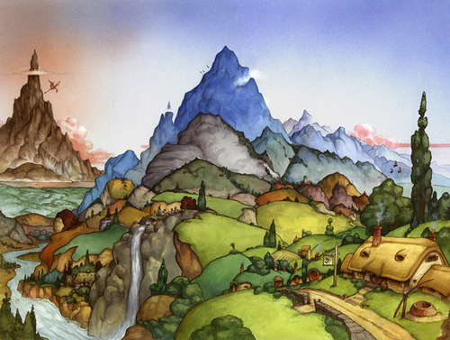 04-Hobbit Panorama-Artist-David-Twenzel-Watercolour-The-Hobbit-Frodo-Baggins-Gandalf