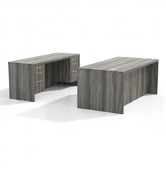 Gray Steel Mayline Aberdeen Desk Set AT1