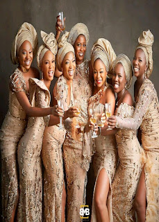 See Photo Of Simi's Gorgeous Bridesmaids In Asoebi.