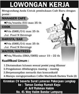 Bursa Kerja Lampung Terbaru April 2017 Dari TAMAN SATAP RUMAH KAYU Bandar Lampung