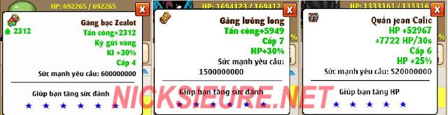 shop bán nick NRO Hồng Ân - set tăng hp & ki ngọc rồng online