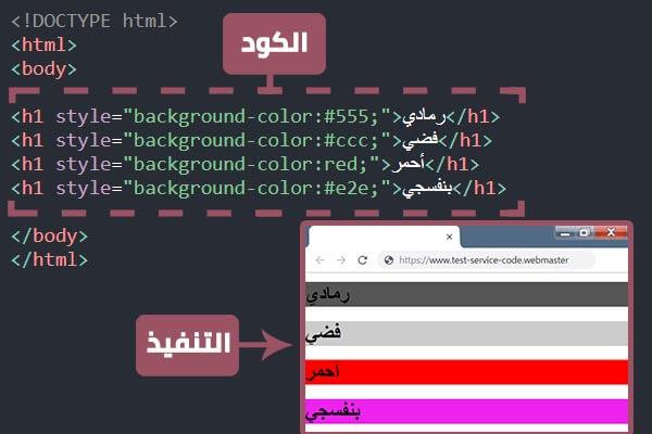 كود ضبط ألوان الخلفية لأي قسم أو فقرة بإستعمال الـ html