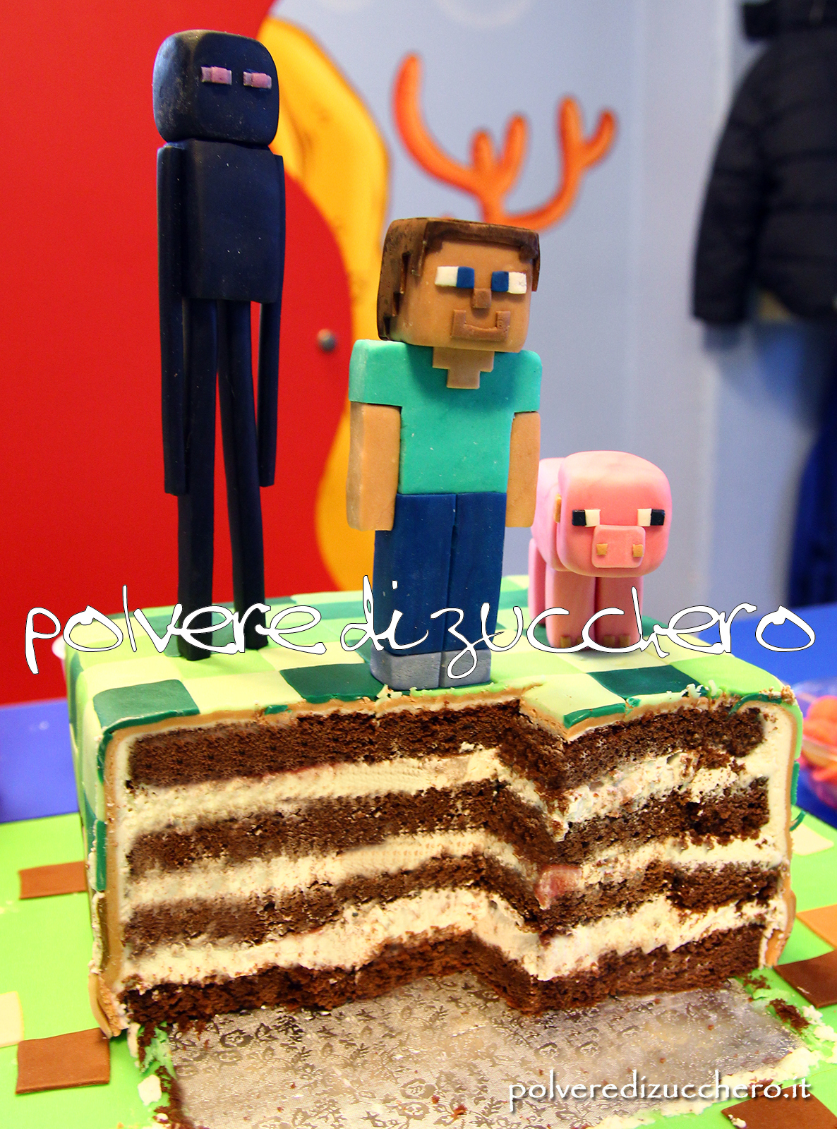 torta decorata cake design minecraft xbox playstation pasta di zucchero torta sweet table polvere di zucchero