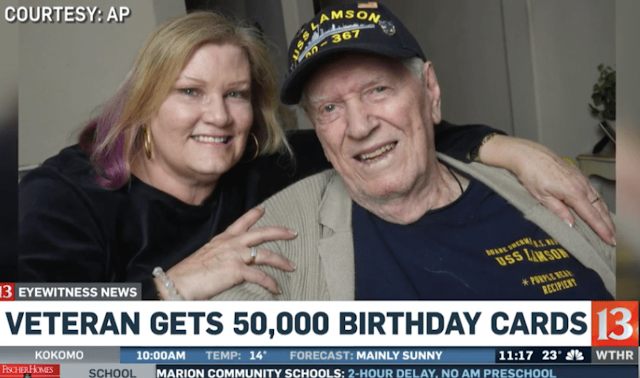 WWII Veteran Receives 50,000 Birthday Cards After Daughter's Plea Goes Viral