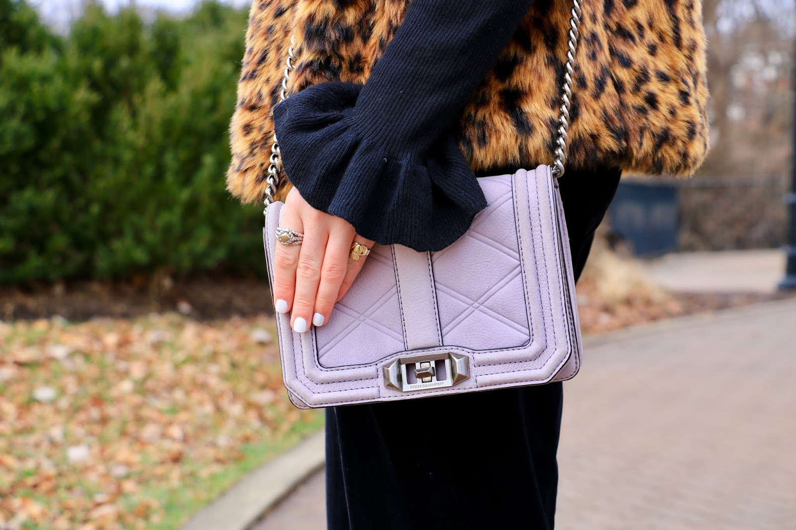 Nyc fashion blogger Kathleen Harper's Rebecca Minkoff lavender purse