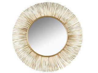espejo dorado varillas acero retro