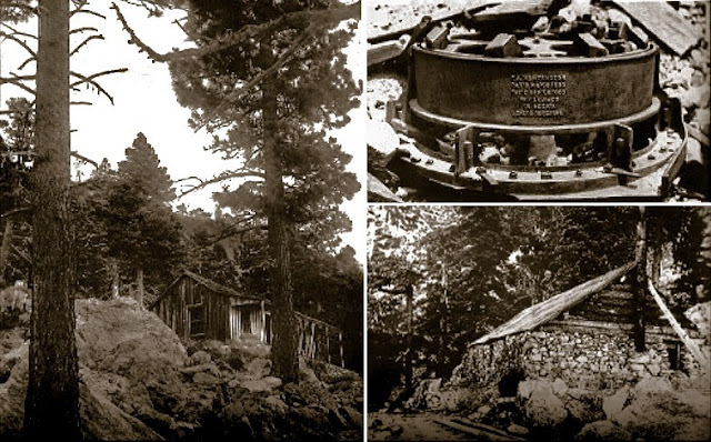 Left: The foreman's cabin Right Top: The intact rock crusher Right Bottom: the mess hall. Circa 1899