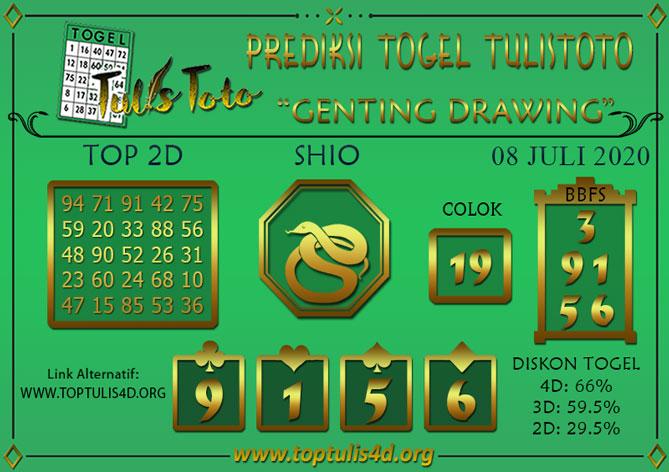 Prediksi Togel GENTING DRAWING TULISTOTO 08 JULI 2020