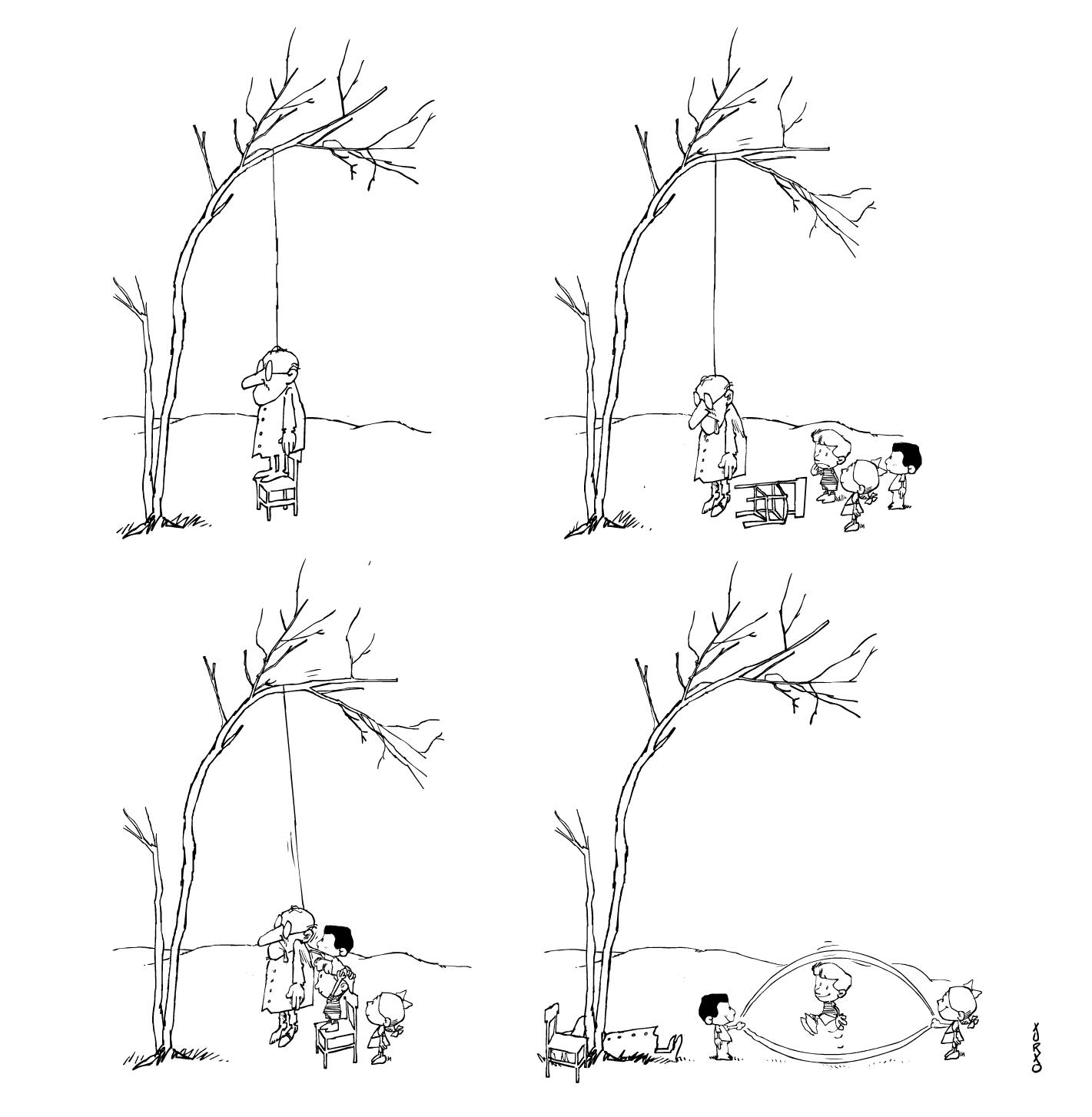 unos niños utilizan la soga de un ahorcado para saltar a la comba