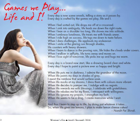 Games We Play... Life and I! on Women's Era (April 2016)