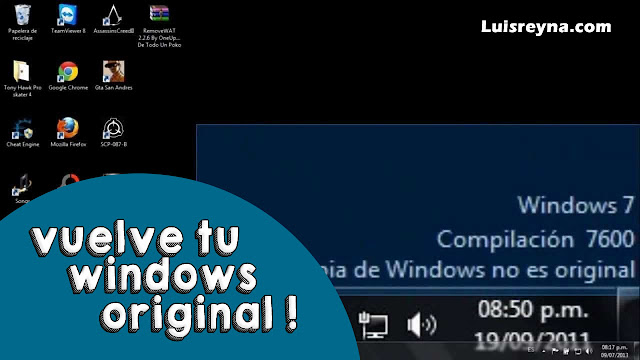 ELIMINAR MENSAJE: COPIA DE WINDOWS NO ES ORIGINAL