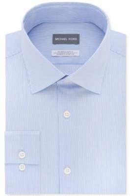 Men's Classic/Regular Fit Airsoft Stretch Non-Iron Performance Blue Stripe Dress Shirt
