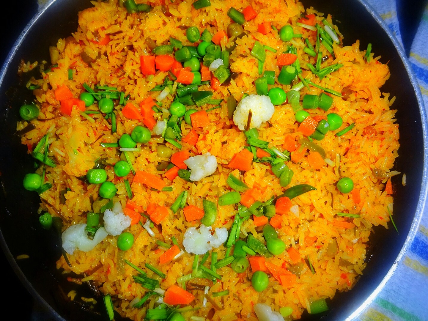 veg indian cooking green garlic vegetable pulao