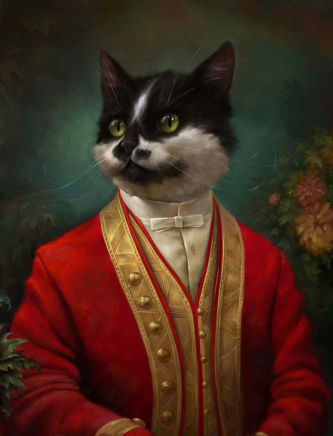 08-The-Hermitage-Court-Waiter-Eldar-Zakirov-Digital-Art-Illustrations-of-Smartly-Dressed-Cats-www-designstack-co