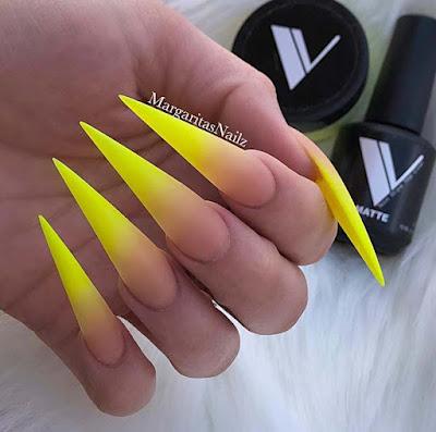 Super-Stylish Yellow Stiletto Acrylic Nails