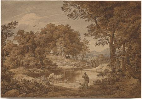 An Italian Landscape with Shepherds