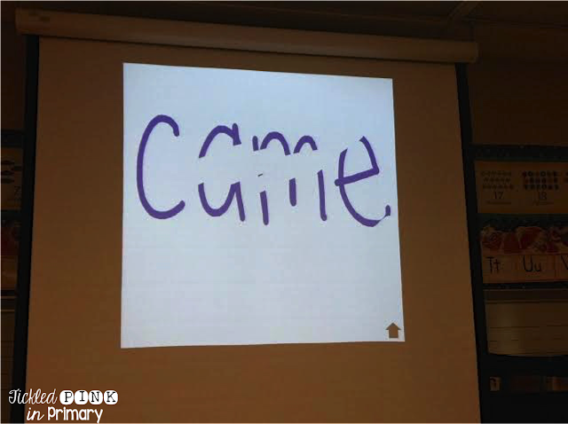 sight word written on the board, but partially erased