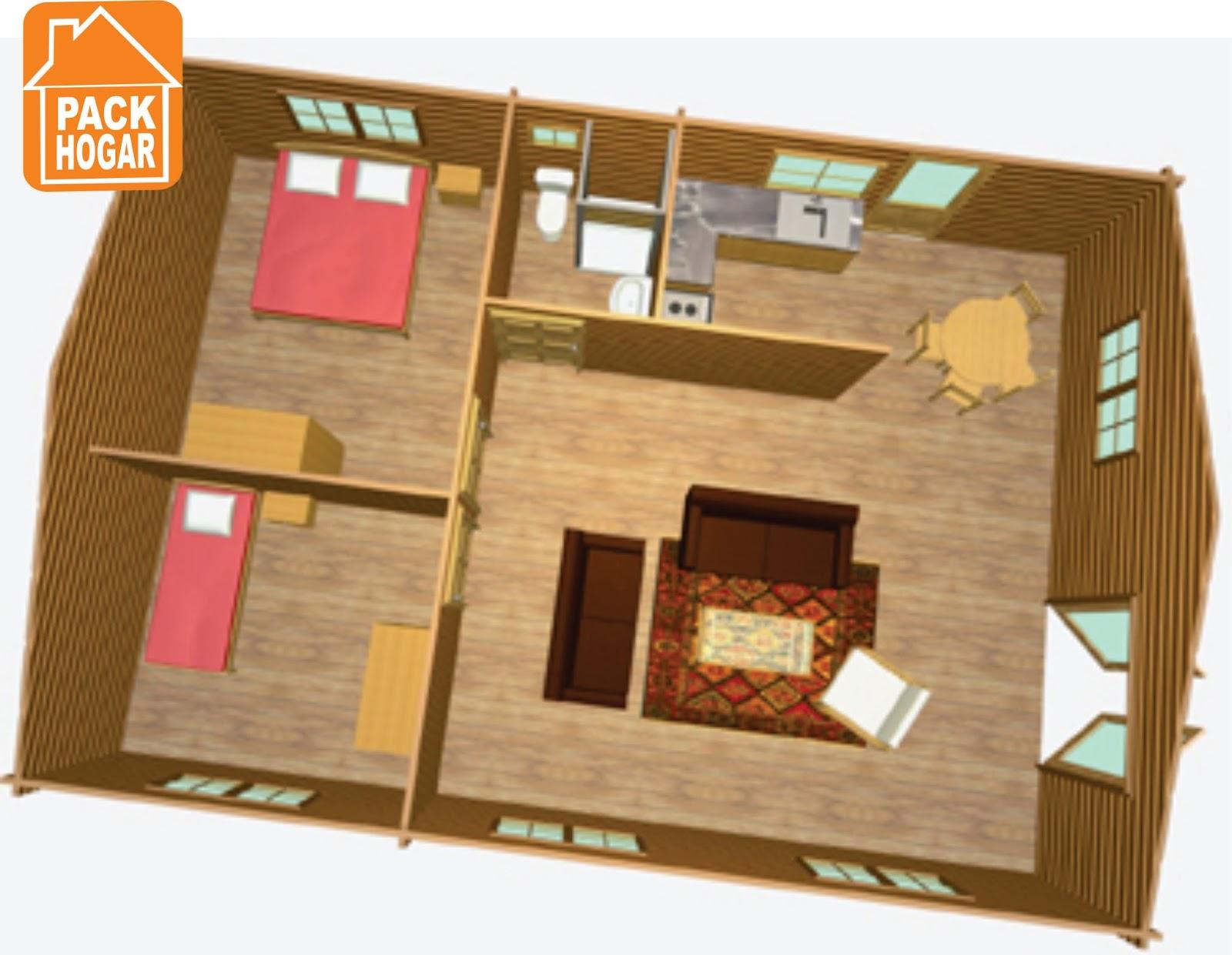 Casas prefabricadas de madera 68m2 packhogar - Cocheras de madera prefabricadas ...