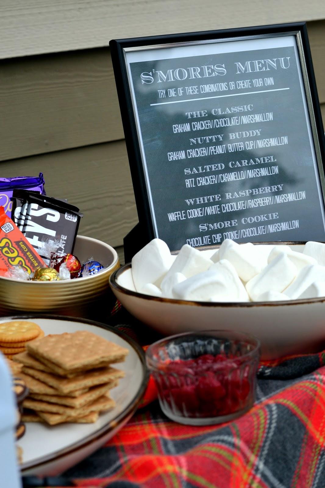 backyard s u0027mores bar with free printable gourmet s u0027mores menu