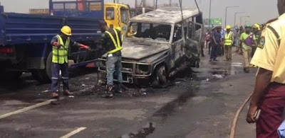 Fayose, Nigerian Ekiti Governor's Mercedes-Benz G-Wagon burns to the chassis