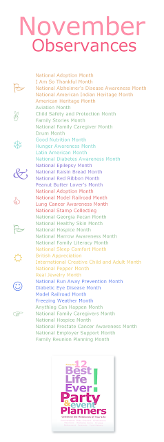 Best Life Ever! November Awareness Month Chart