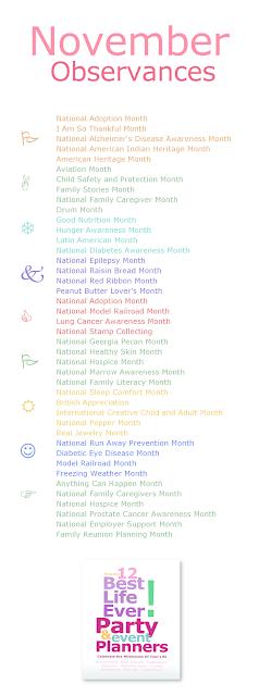 Best Life Ever! November Awareness Month Chart