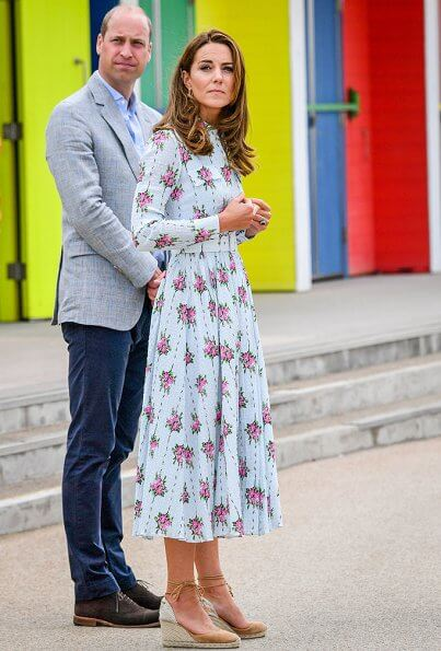 Kate Middleton wore Emilia Wickstead Aurora belted floral print cotton blend seersucker dress and Castaner Carina canvas wedge espadrilles