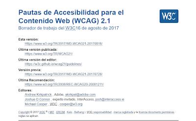 imagen del borrador de las pautas WCAG 2.1