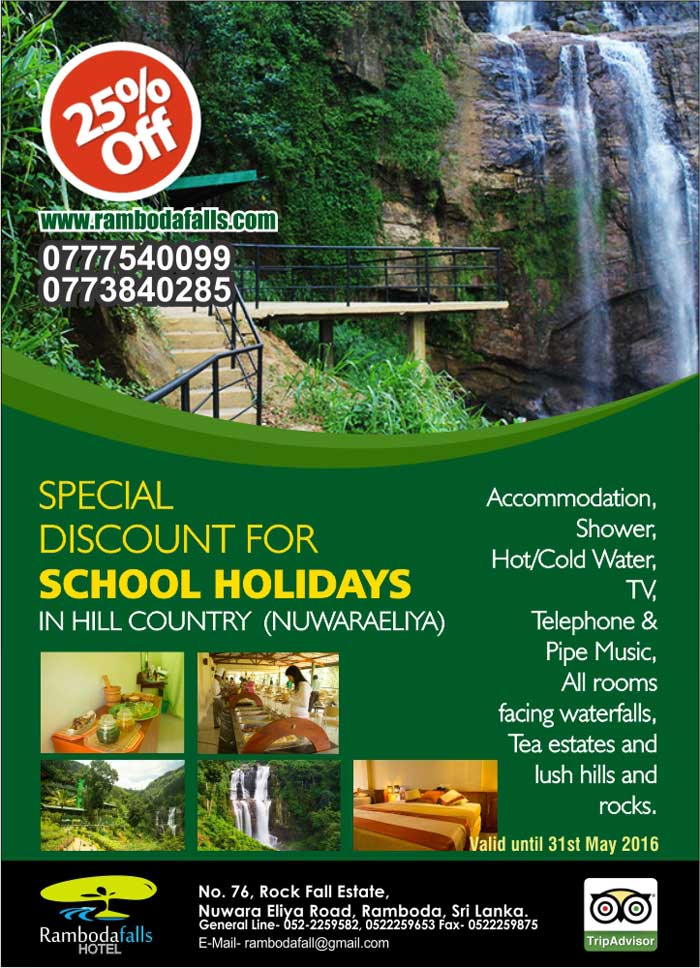 Special discount for School holidays in hill country (Nuwaraeliya)