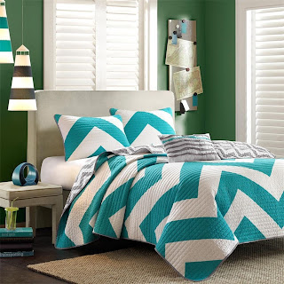 dark teal chevron bedding