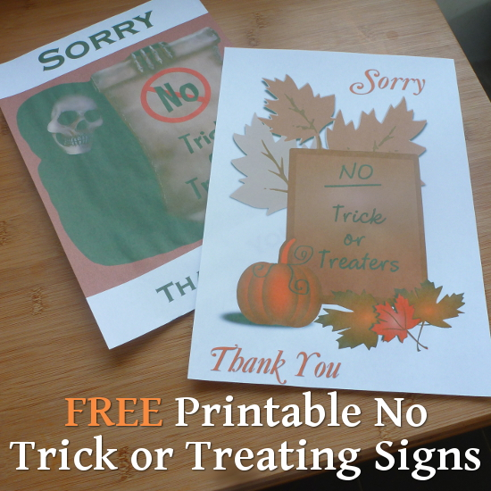 printable sorry no trick or treat posters skeleton grim reaper design, fall pumpkin design posters