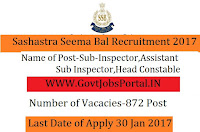 Sashastra Seema Bal (SSB)Recruitment 2017 SI, ASI, Head Constable (872 Vacancies)