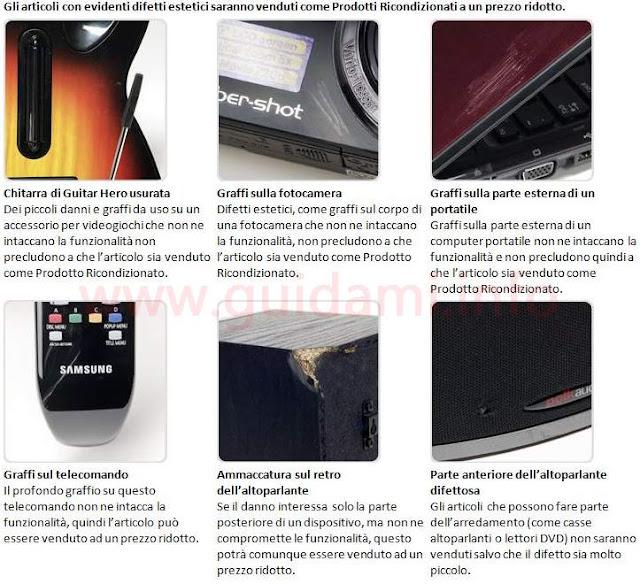 Esempi di evidenti difetti di articoli venduti su Amazon Warehouse Deals
