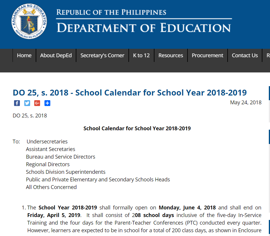 2018 deped school calendar for school year 2018 2019